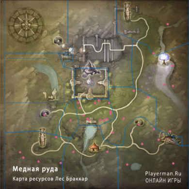 Карта ресурсов Лес Браккар - Медная руда