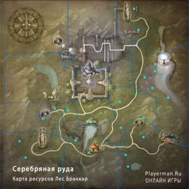 Карта ресурсов Лес Браккар - Серебряная руда