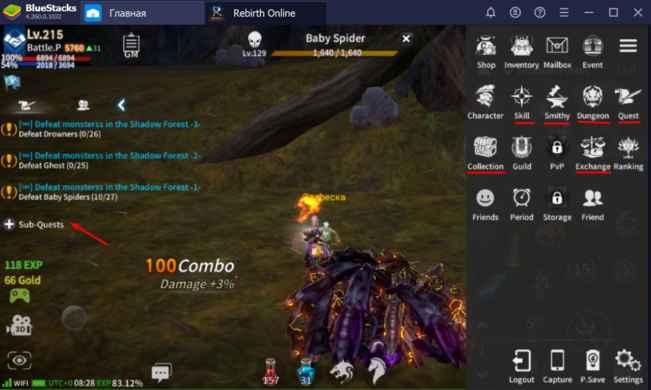 rebirth online меню игры